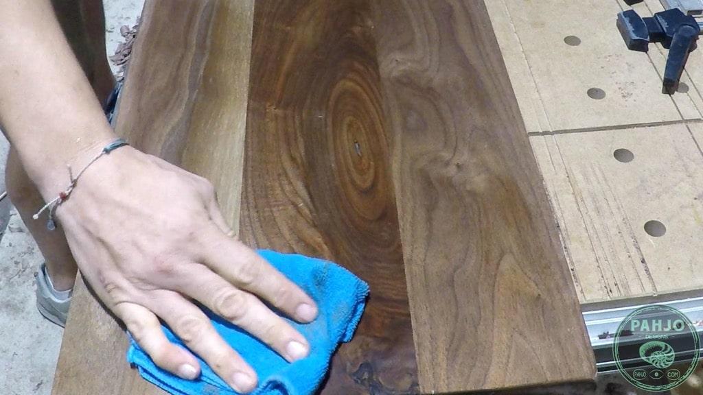 raise grain with damp rag