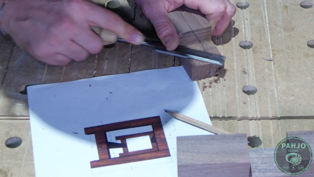 clean wood joint with chisel