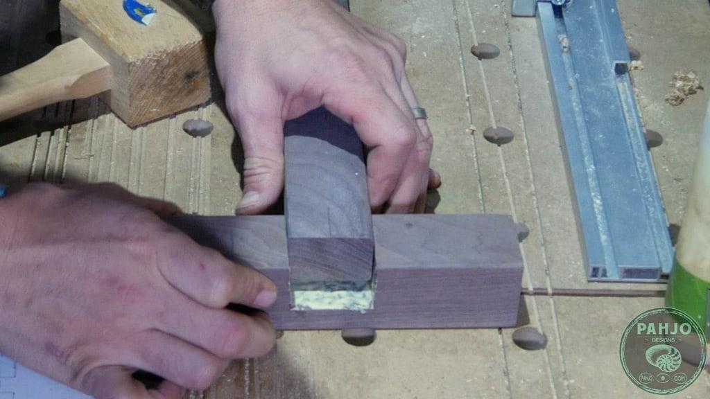 half lap wood joint glue up