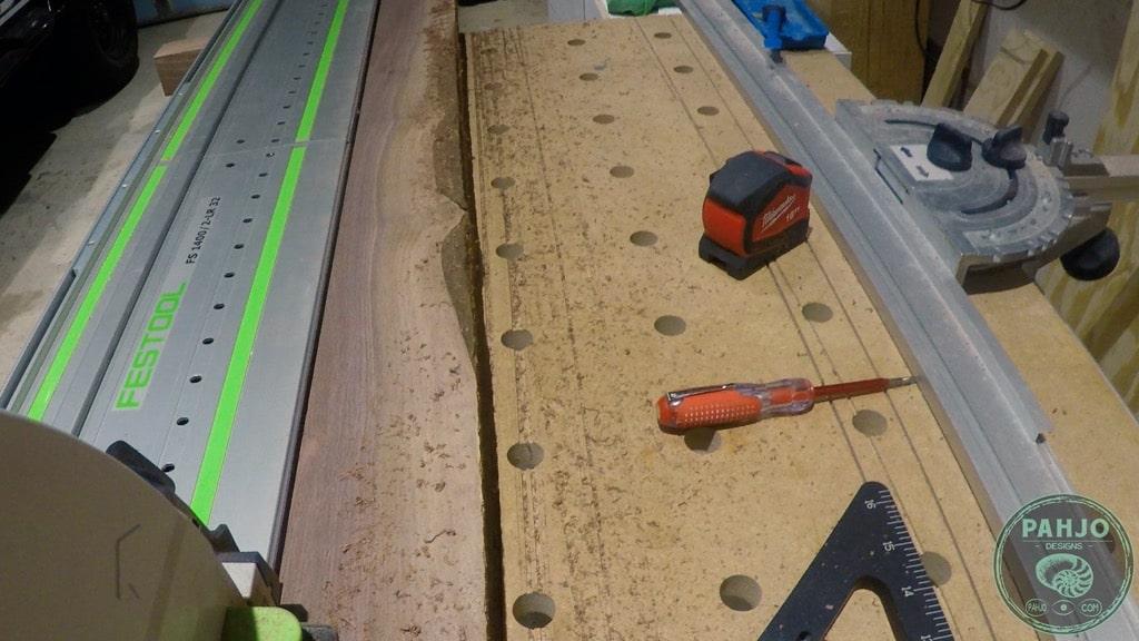track saw on walnut wood