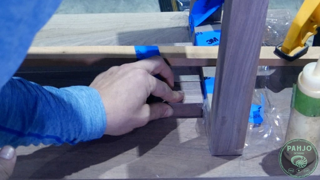 glue connector blocks to bench seat