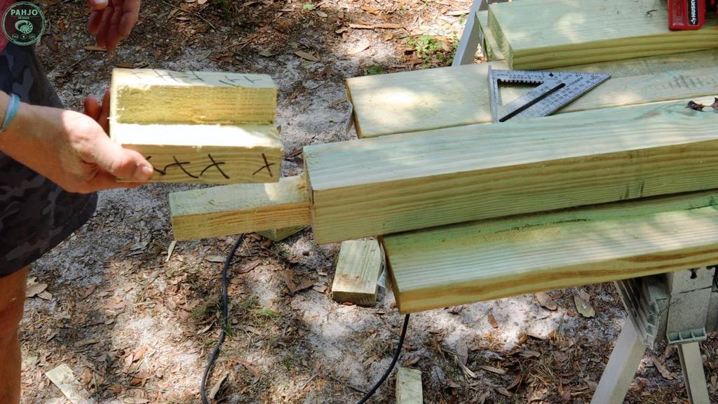 batting cage frame corner wood post half lap joint