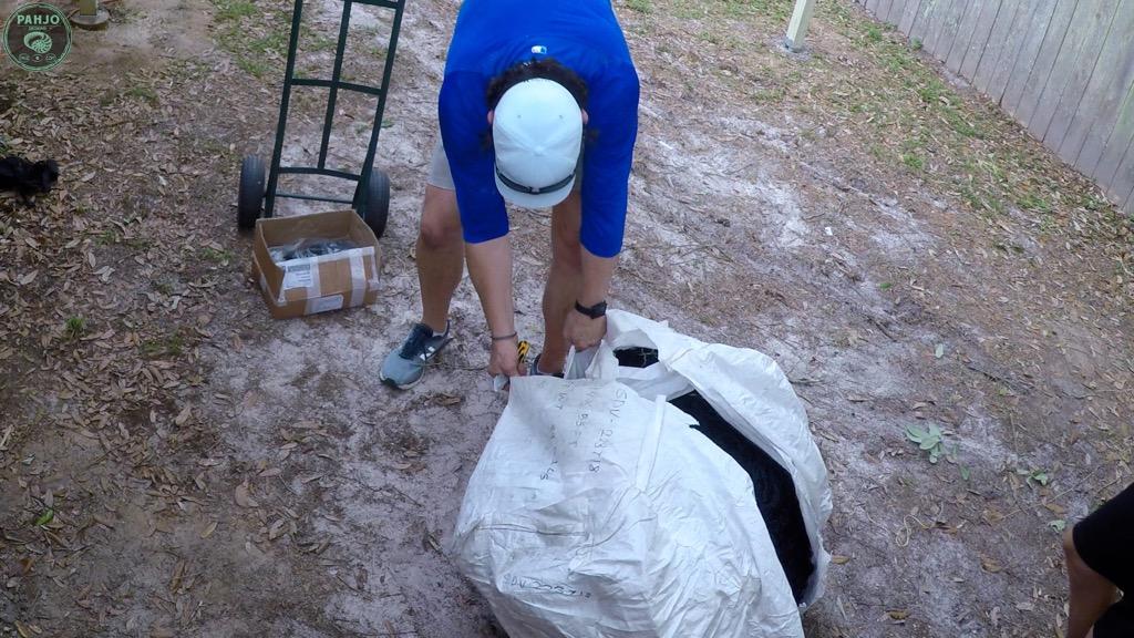 unpacking batting cage net