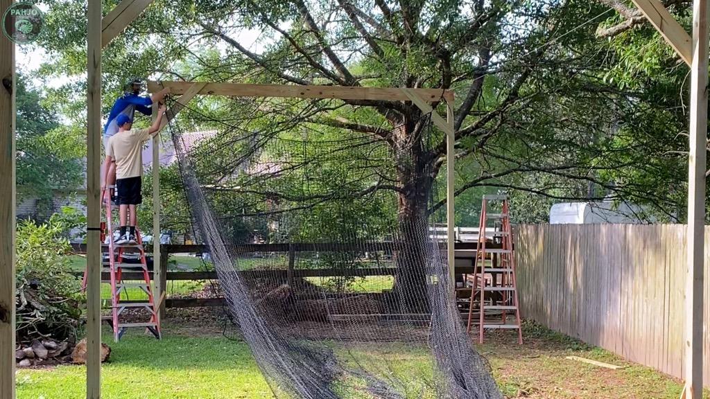 hang DIY batting cage net