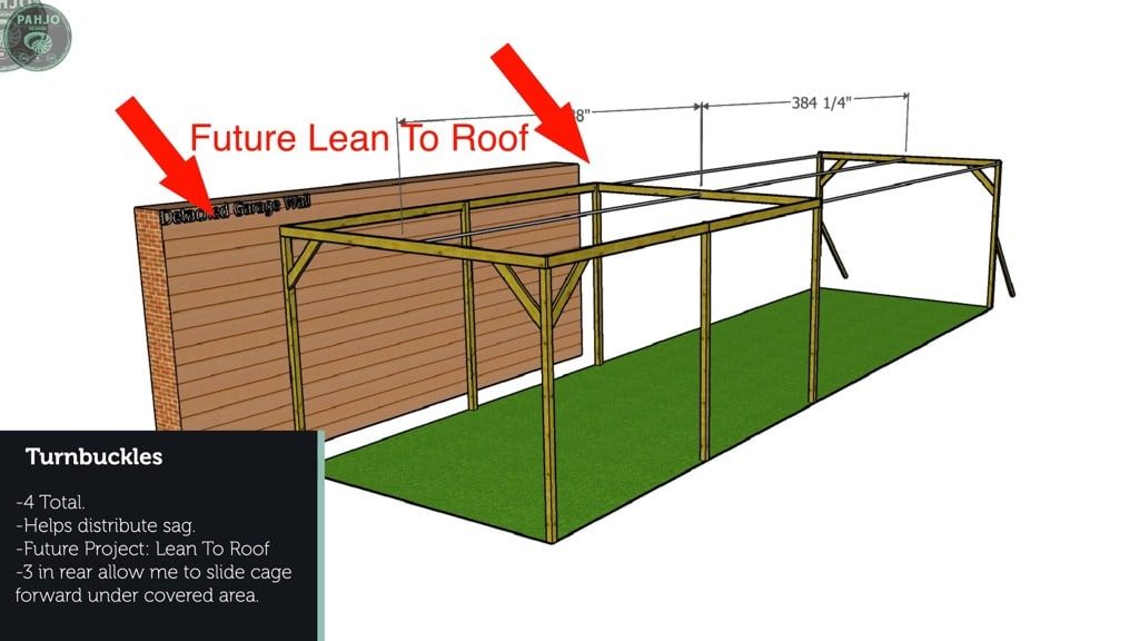 wood batting cage frame lean to