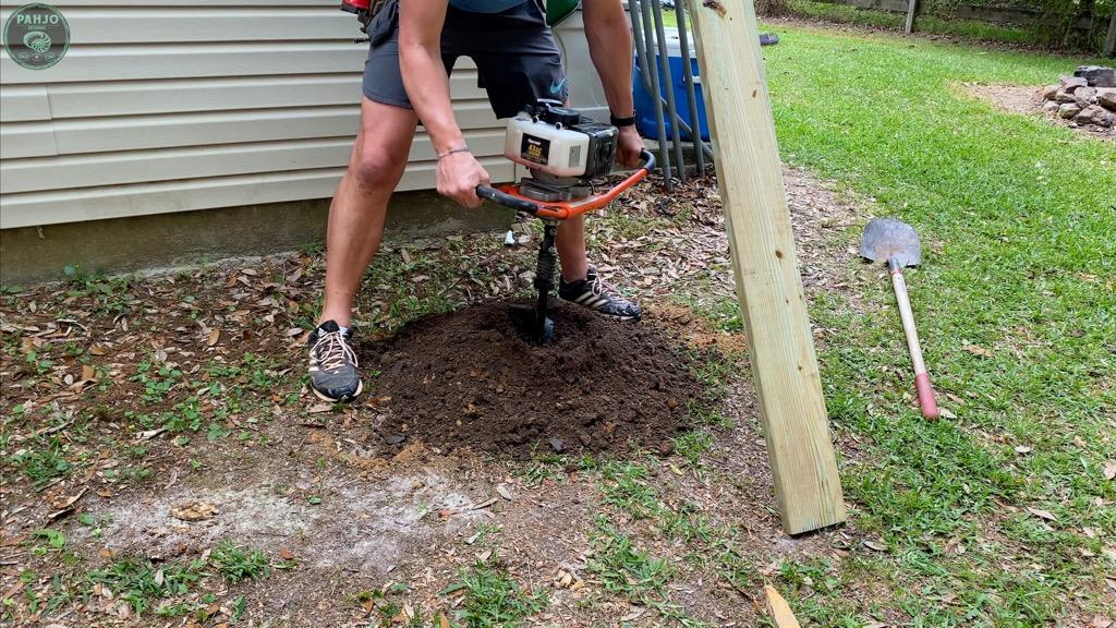 post hole auger for batting cage frame