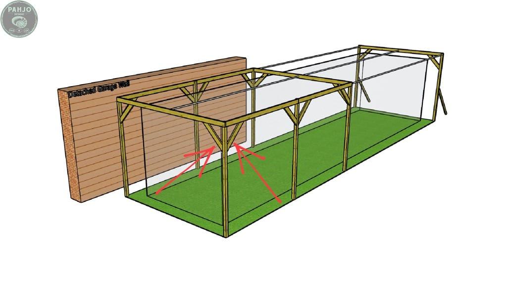 diy wood batting frame cage support braces